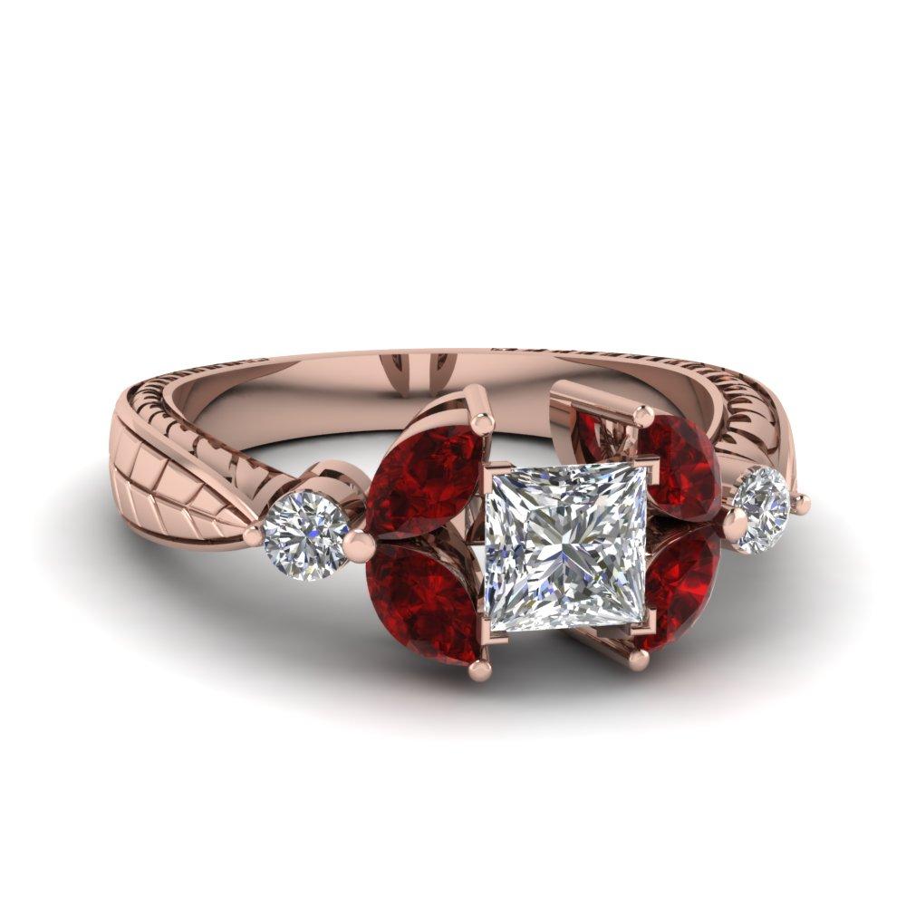 Vintage Looking Floral Princess Cut Diamond Ring