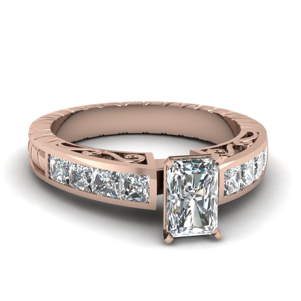 Rose Gold Radiant Cut Diamond Ring