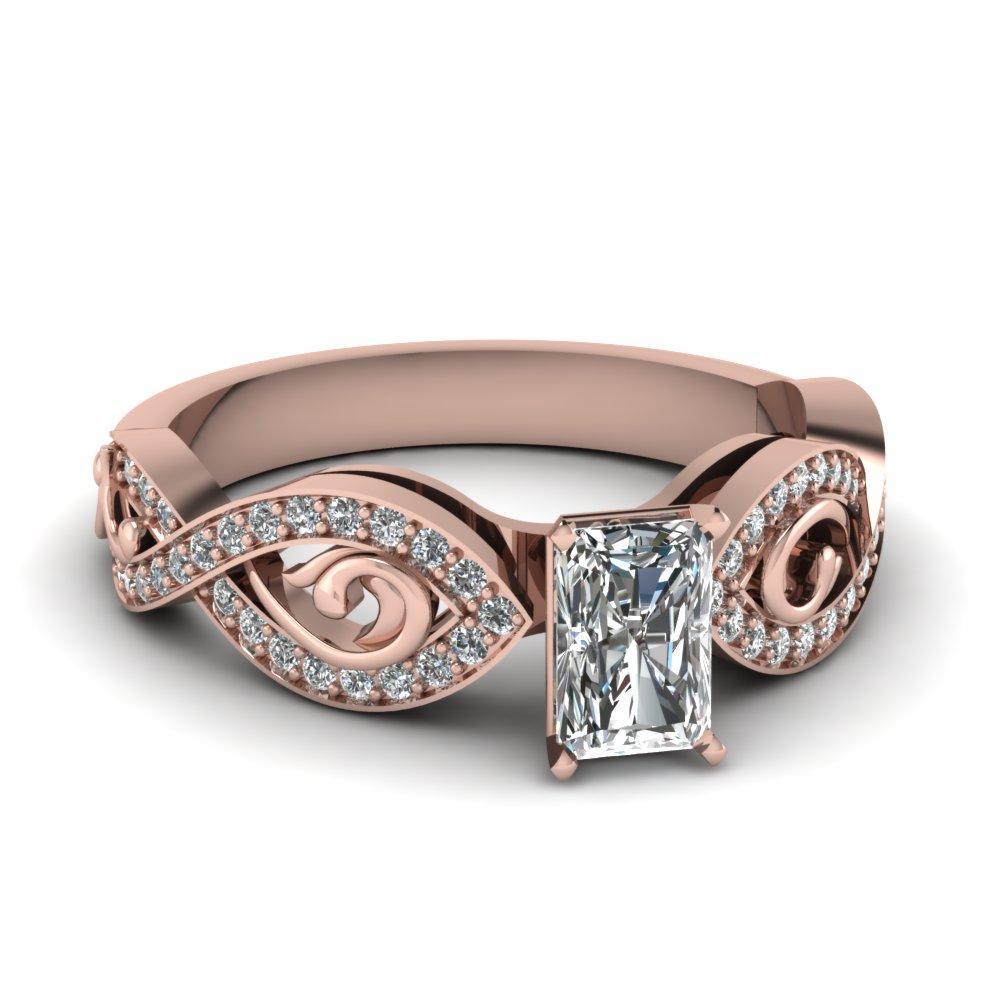 Rose Gold Infinity Radiant Cut Diamond Ring