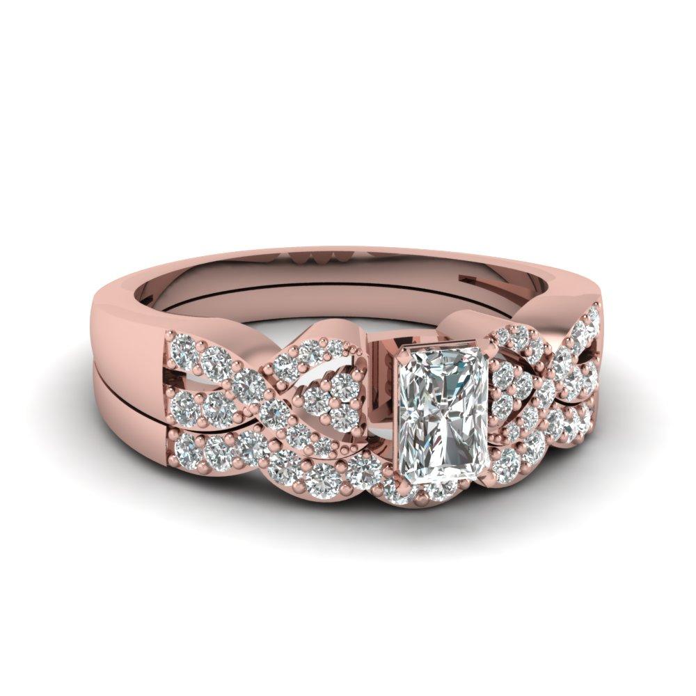 Infinity Twist Diamond Wedding Set