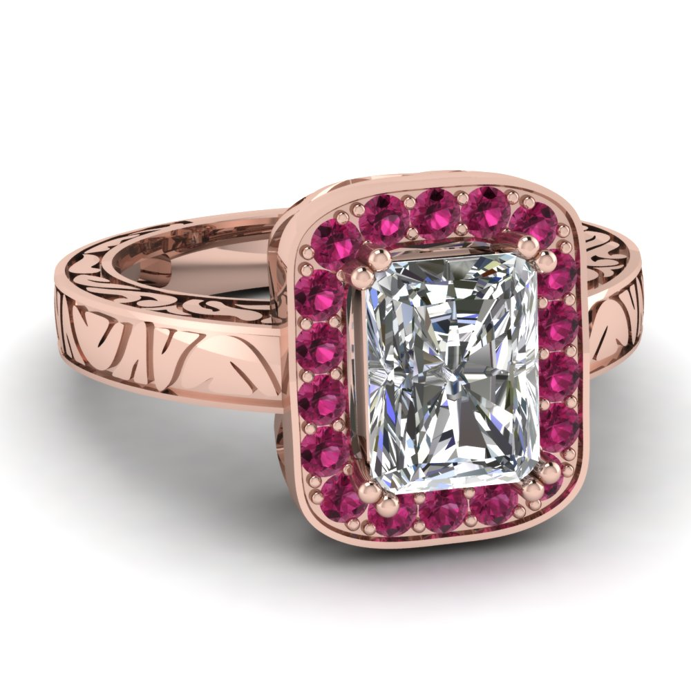Radiant Cut diamond Halo Engagement Rings with Pink Sapphire in 14K Rose Gold