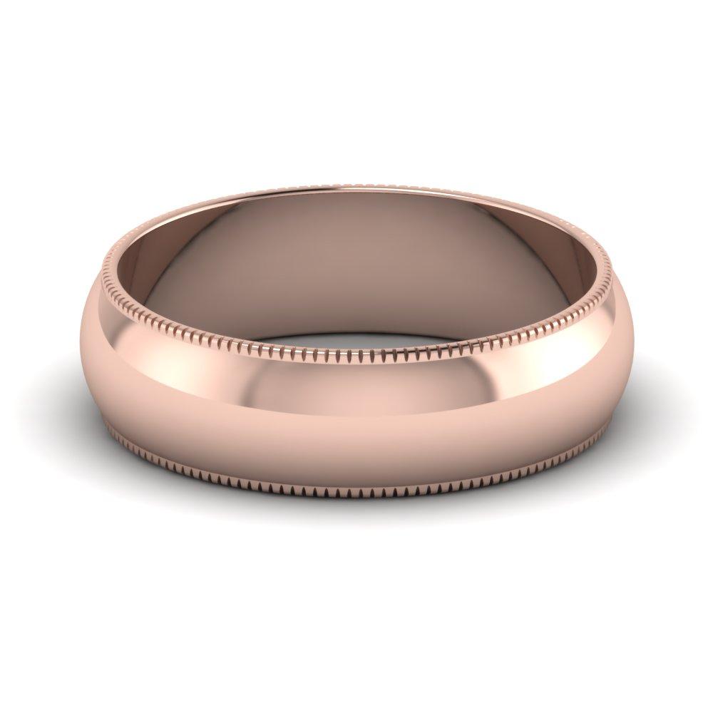 Ribbed Milgrain Comfort Fit Band 6mm