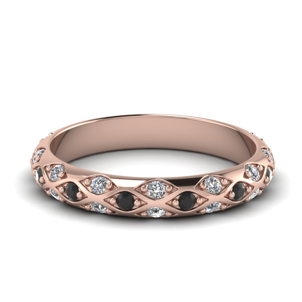 rose gold round black diamond wedding band with white diamond in pave