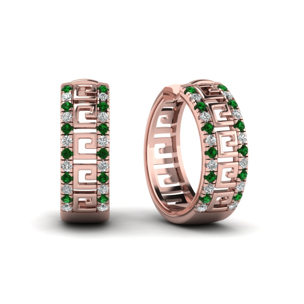 Bangle Hoop Earrings with Green Emerald in 18K Rose Gold