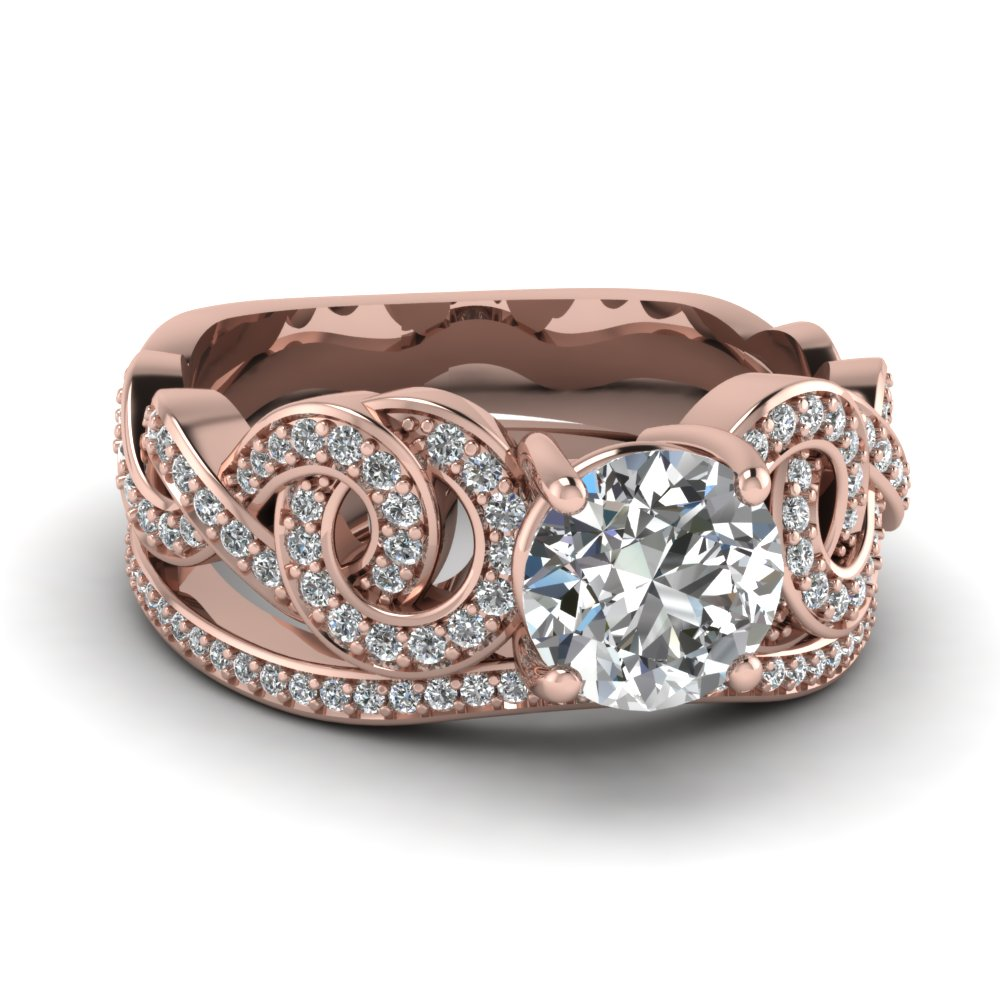 rose gold round white diamond engagement wedding ring in pave set FD RO