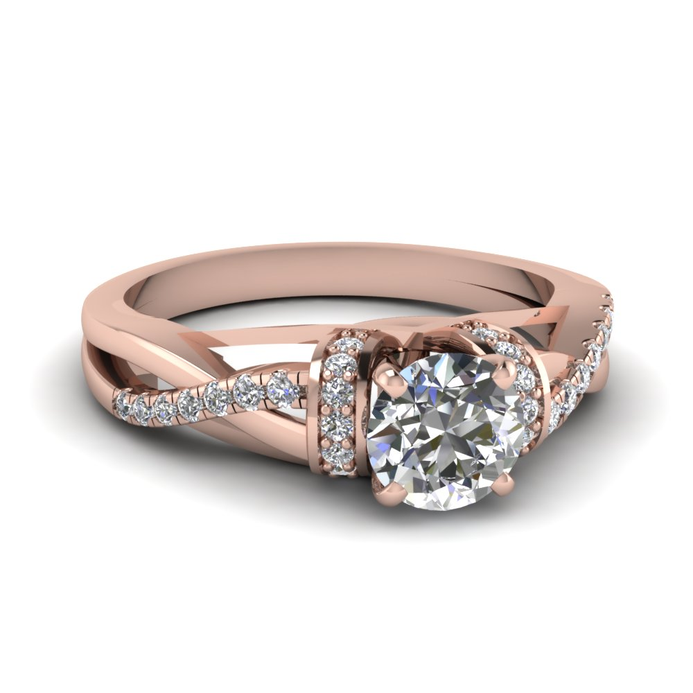 Twisted Round Cut Diamond Side Stone Rings