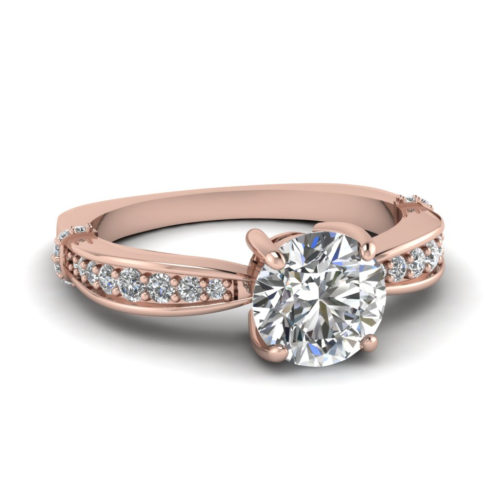 Rose Gold Diamond Ring Band Rose Gold Round White Diamond