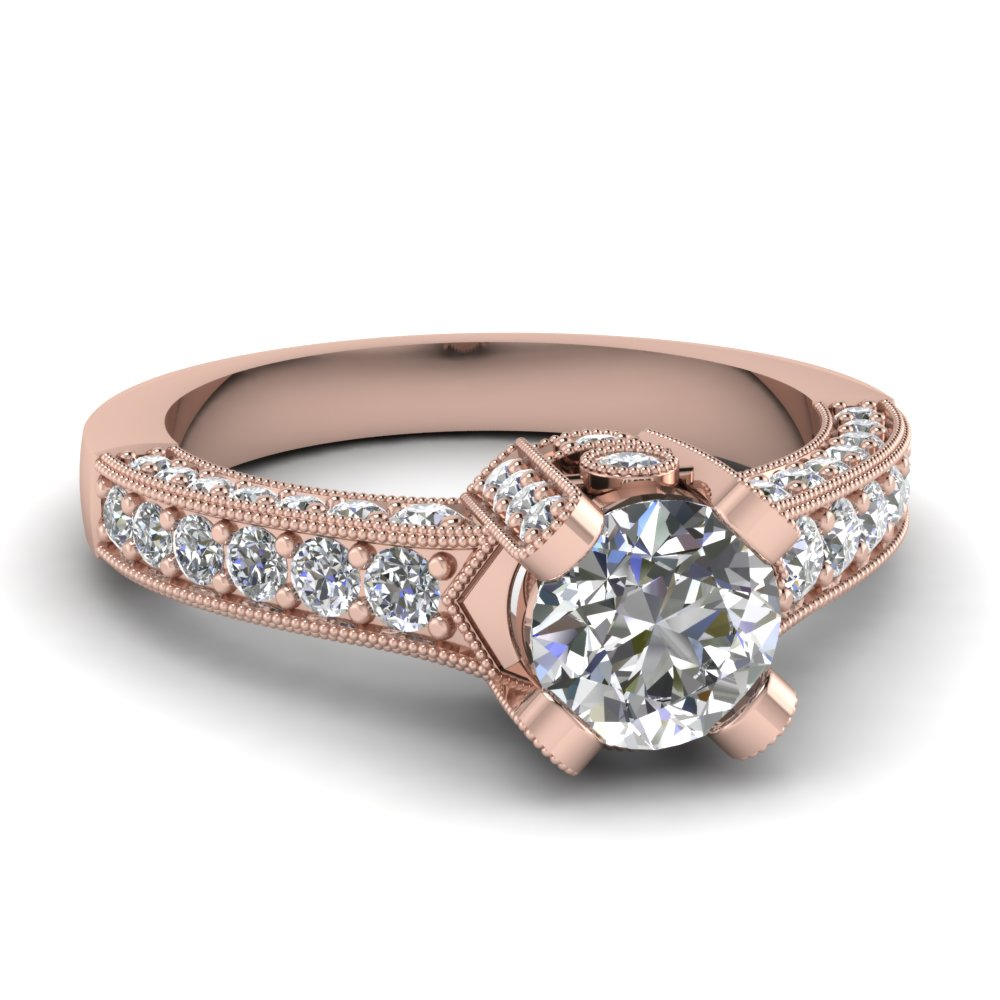 round cut diamond engagement rings with white diamonds in