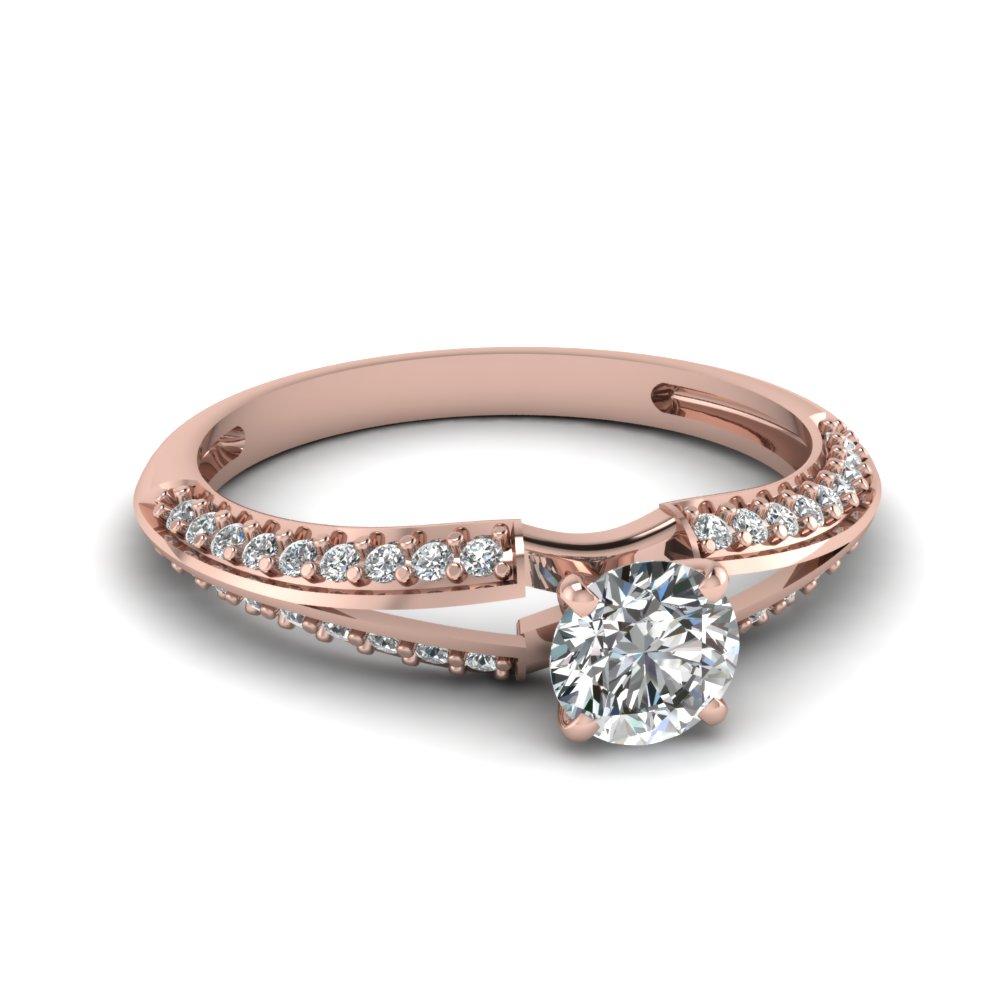 Split Engagement Ring With Round Cut Diamond