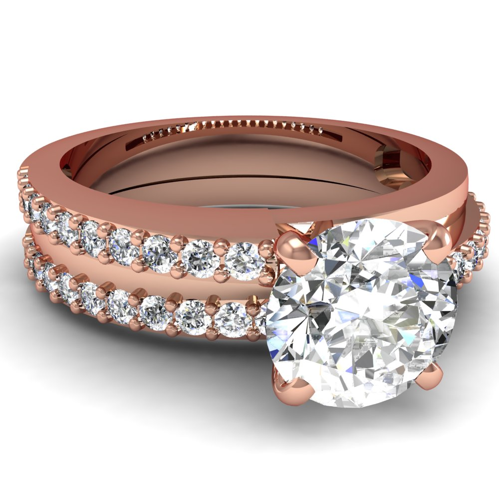 Round Cut Diamond Engagement Rings With White Diamonds In 14k Rose Gold