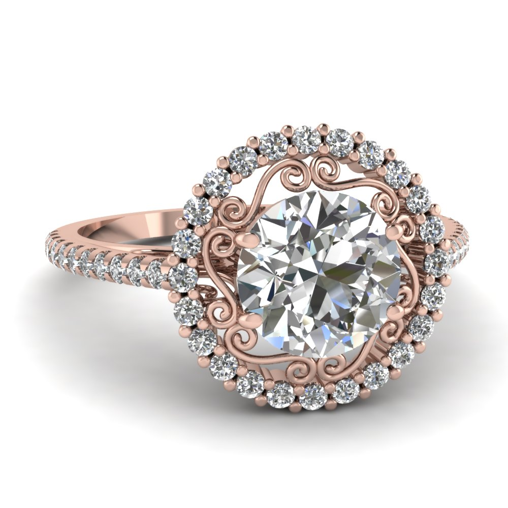 micropave halo ring fascinating diamonds With rose diamond wedding ring