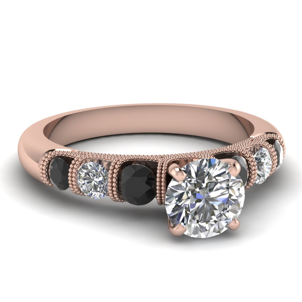 30 Elegant Black Diamond Rose Gold Engagement Rings