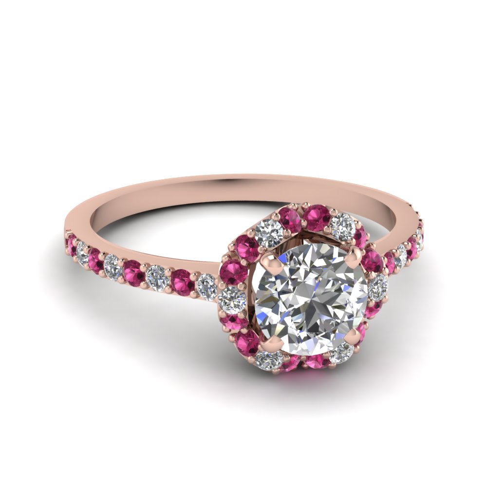 Floral Halo Pink And Diamond Engagement Ring in Rose Gold