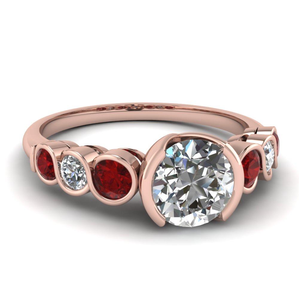 Half Bezel Diamond And Sapphire Gemstone Ring
