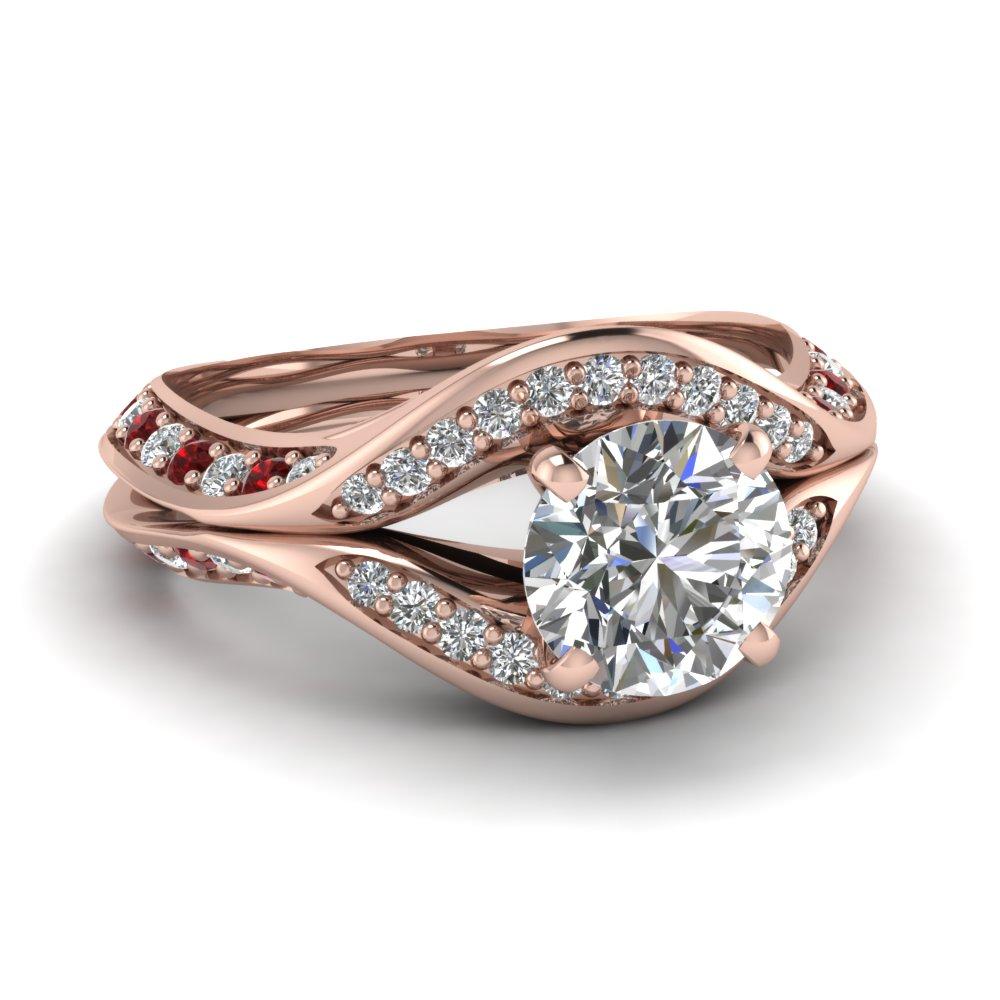 Pave round diamond engagement ring