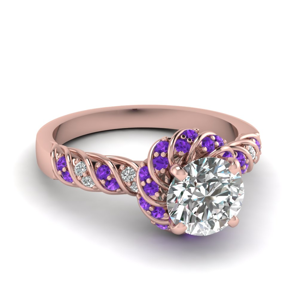 Pave Diamond Ring With Topaz