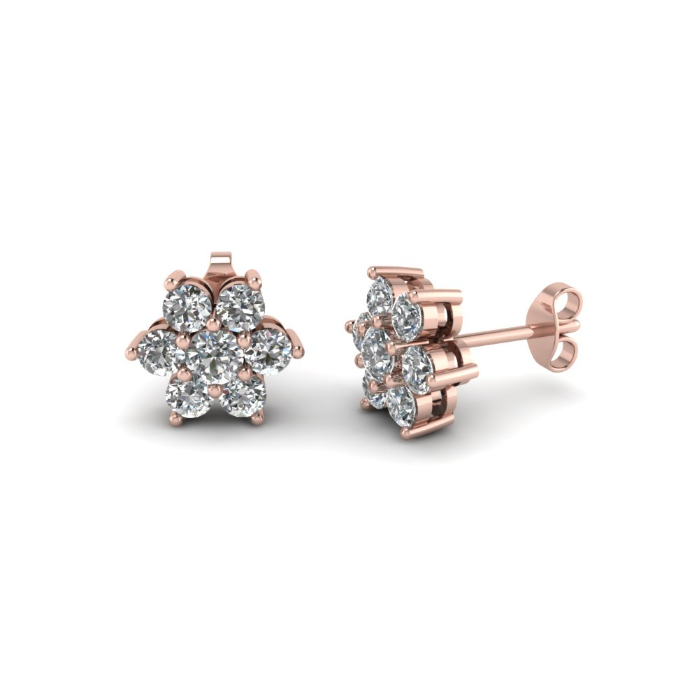 Rose Gold Floral Diamond Stud Earring