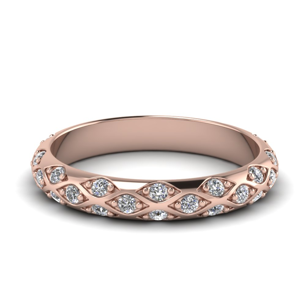 Pave Diamond Wedding Band For Women