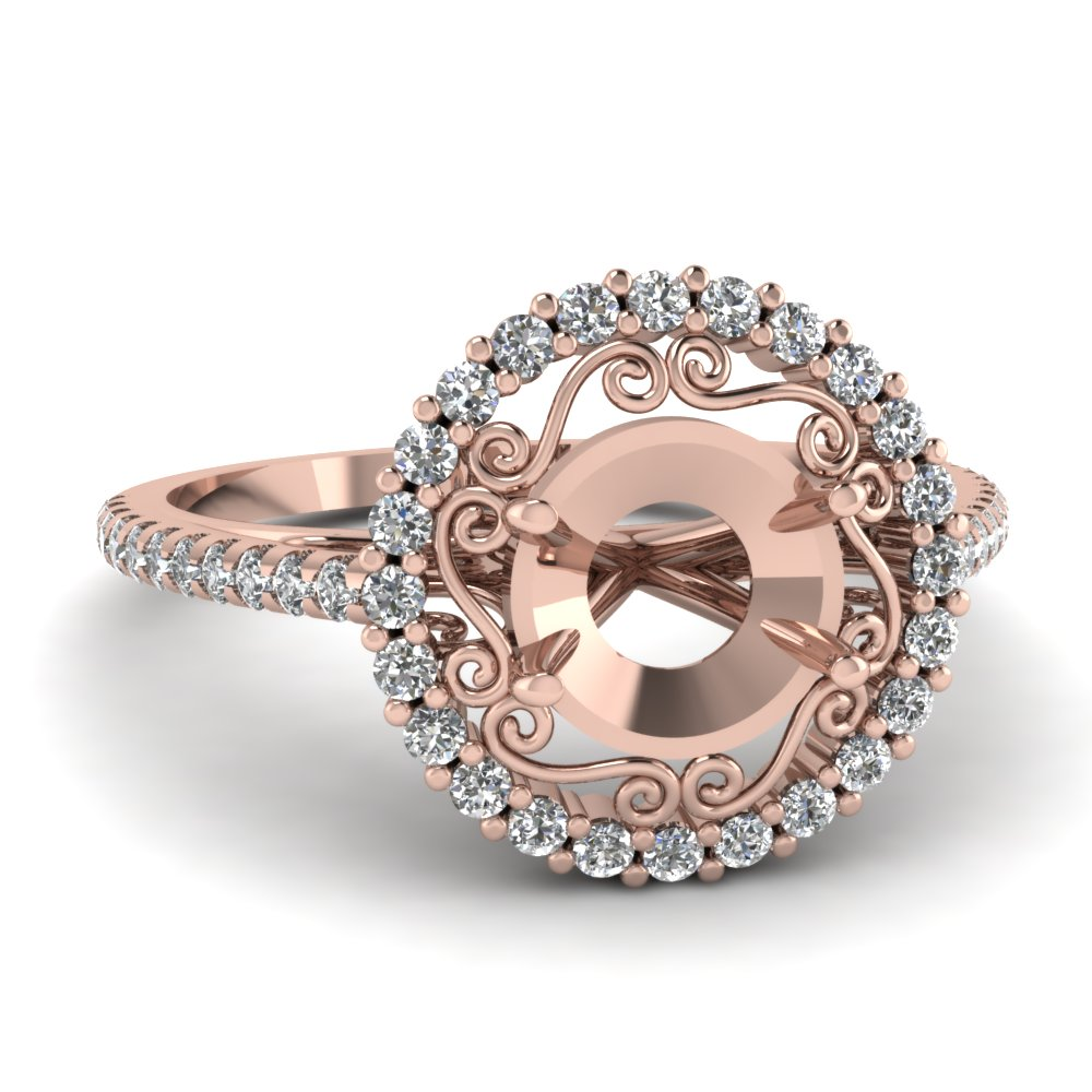 Rose Gold Floral Filigree Pattern Semi Mount Halo Engagement Ring