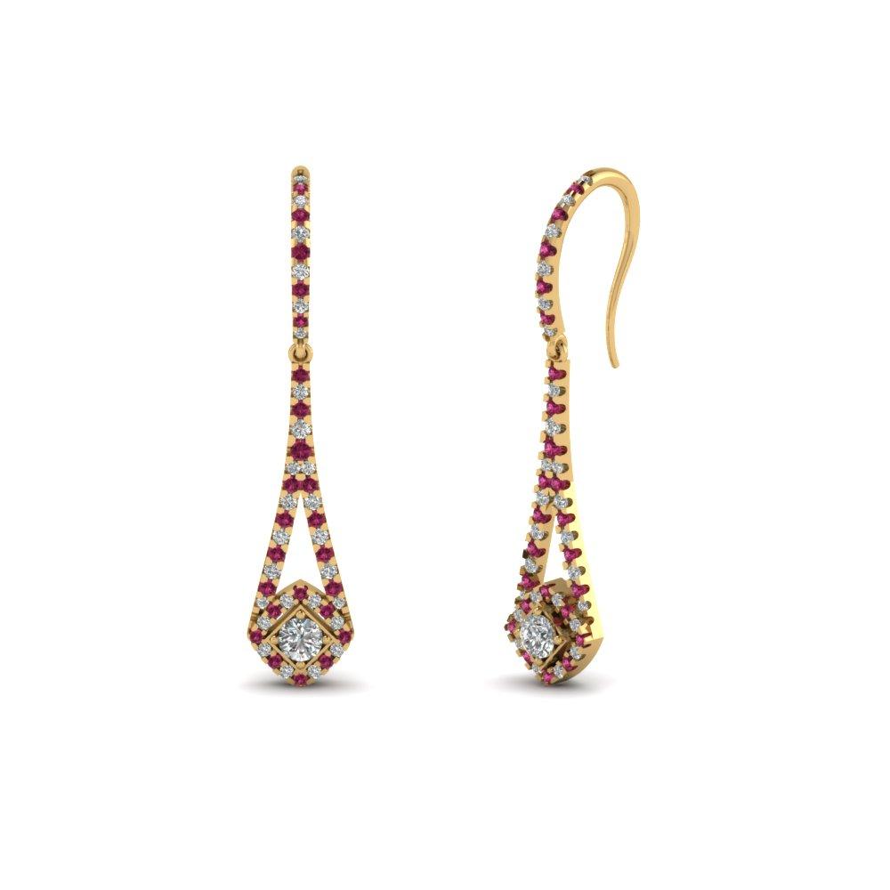 Gold Dangle Sapphire Earrings