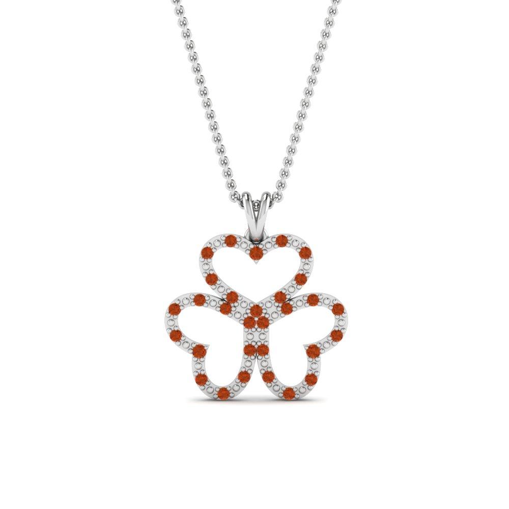 Silver Heart Orange Sapphire Pendant Necklace