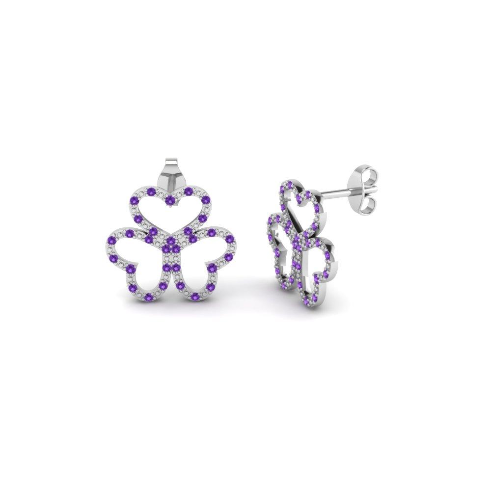 Earrings Purple Sterling Silver