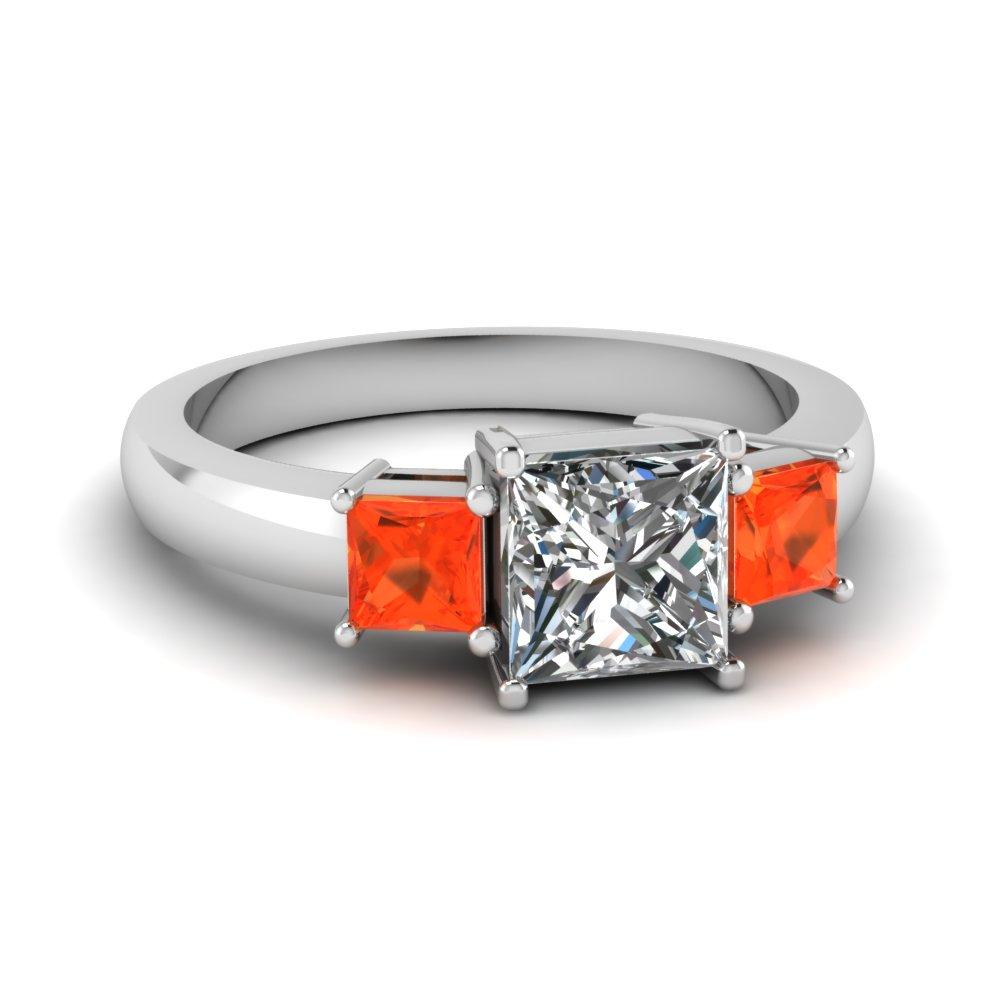 3 Stone Princess Diamond And Gemstone Ring