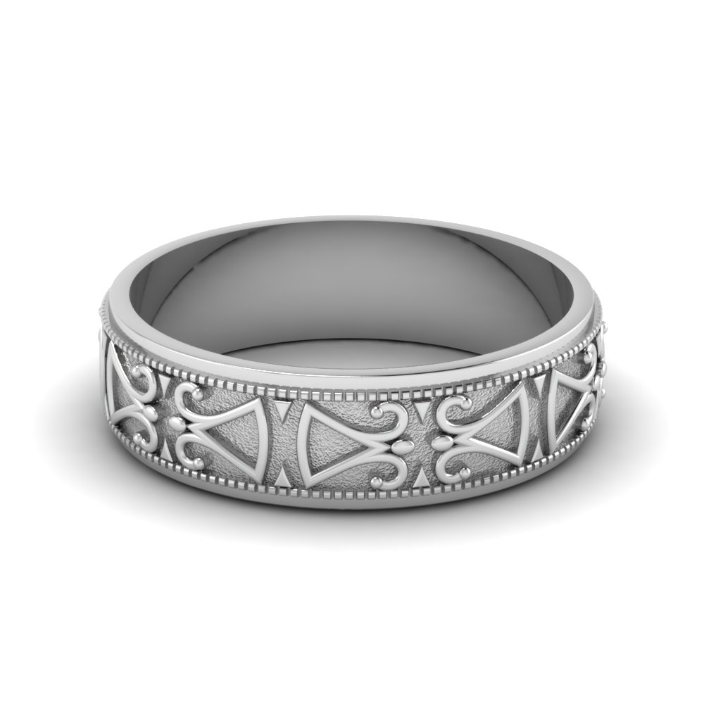 Engraved milgrain mens wedding band