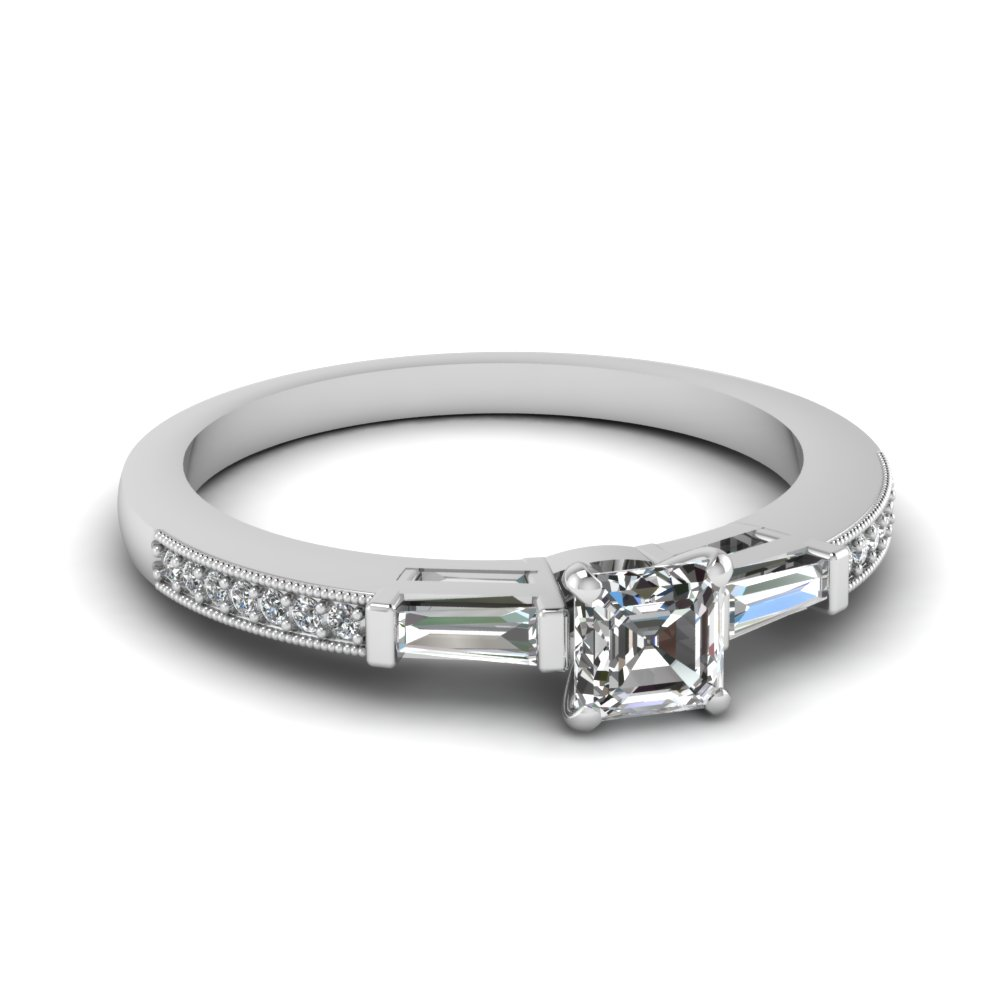 Milgrain Bar Set Asscher Diamond Engagement Ring