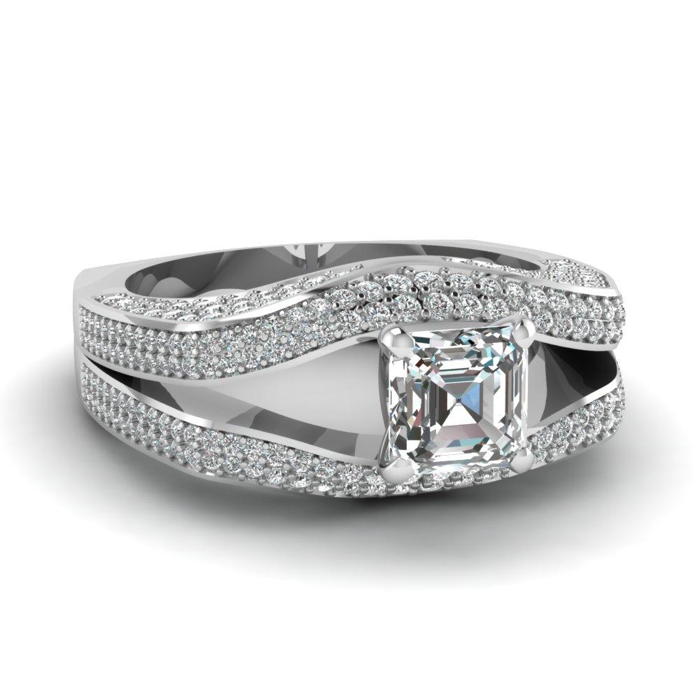 Euro Shank Art Deco Split Shak Micropave Asscher cut Engagement Ring