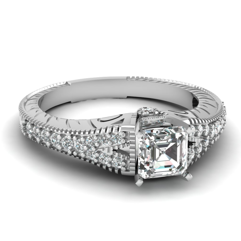 0.75 Carat Asscher Cut Diamond Engagement Ring For Her