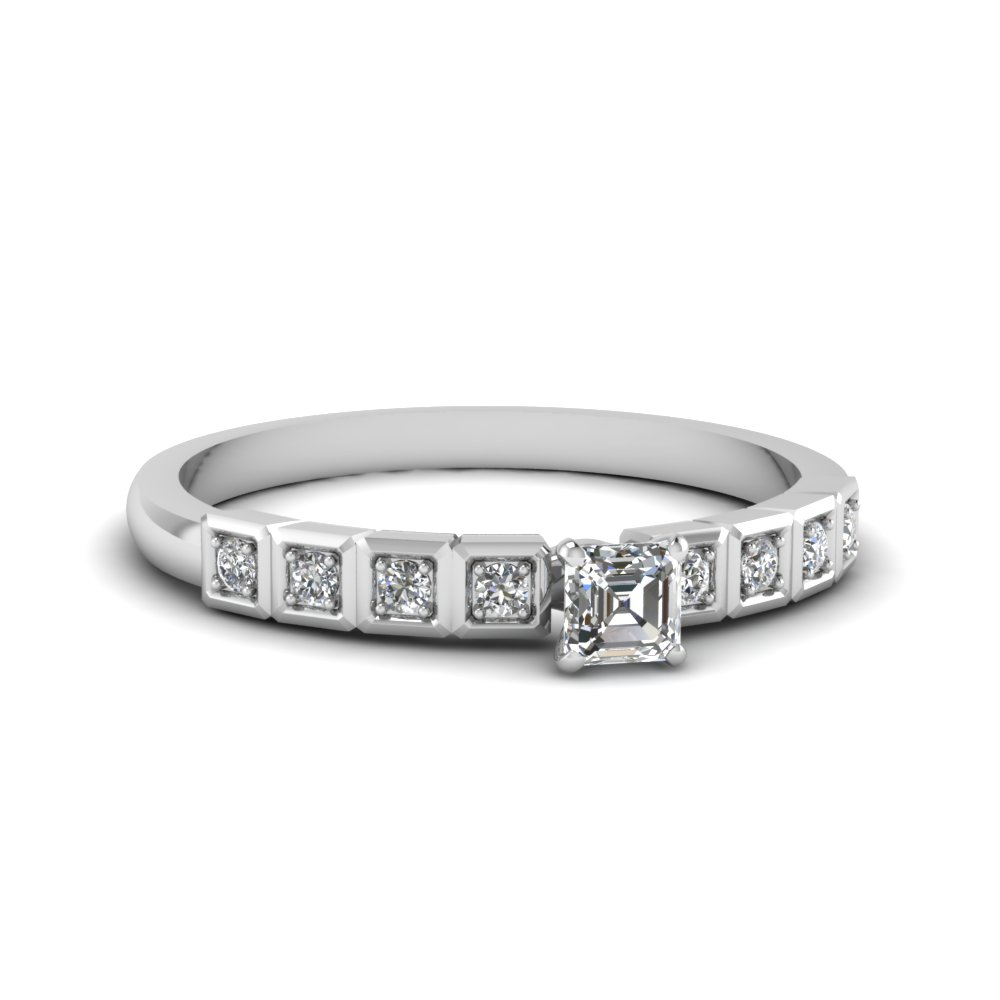 1/2 Karat Asscher Cut Diamond Engagement Ring