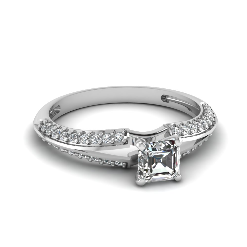 Asscher Cut Diamond White Gold Engagement Ring