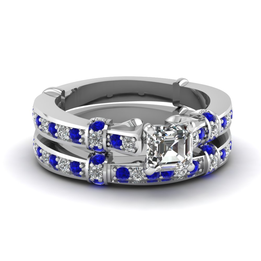 Tilted band set fascinating diamonds for Sapphire wedding ring sets