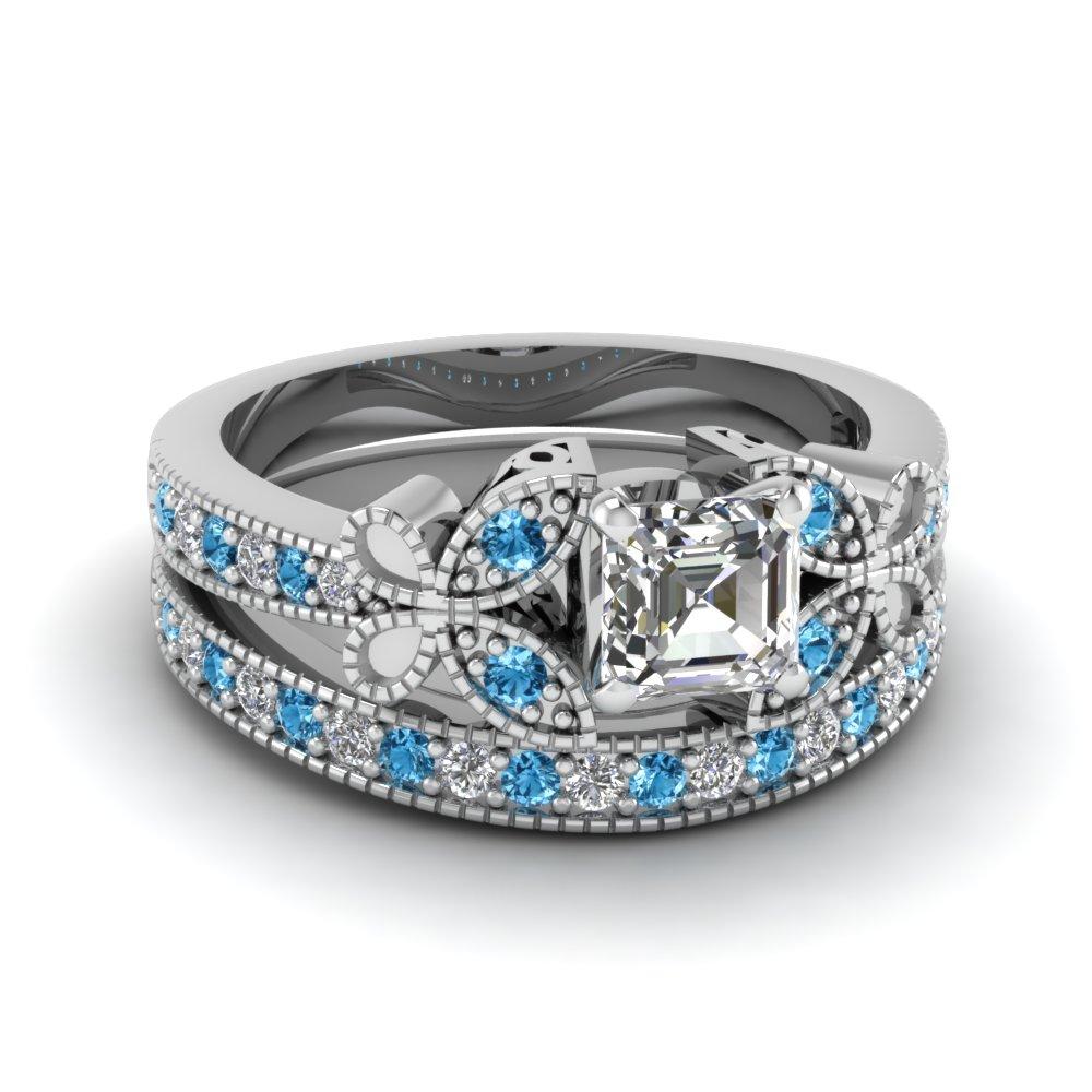 Black gold blue diamond ring