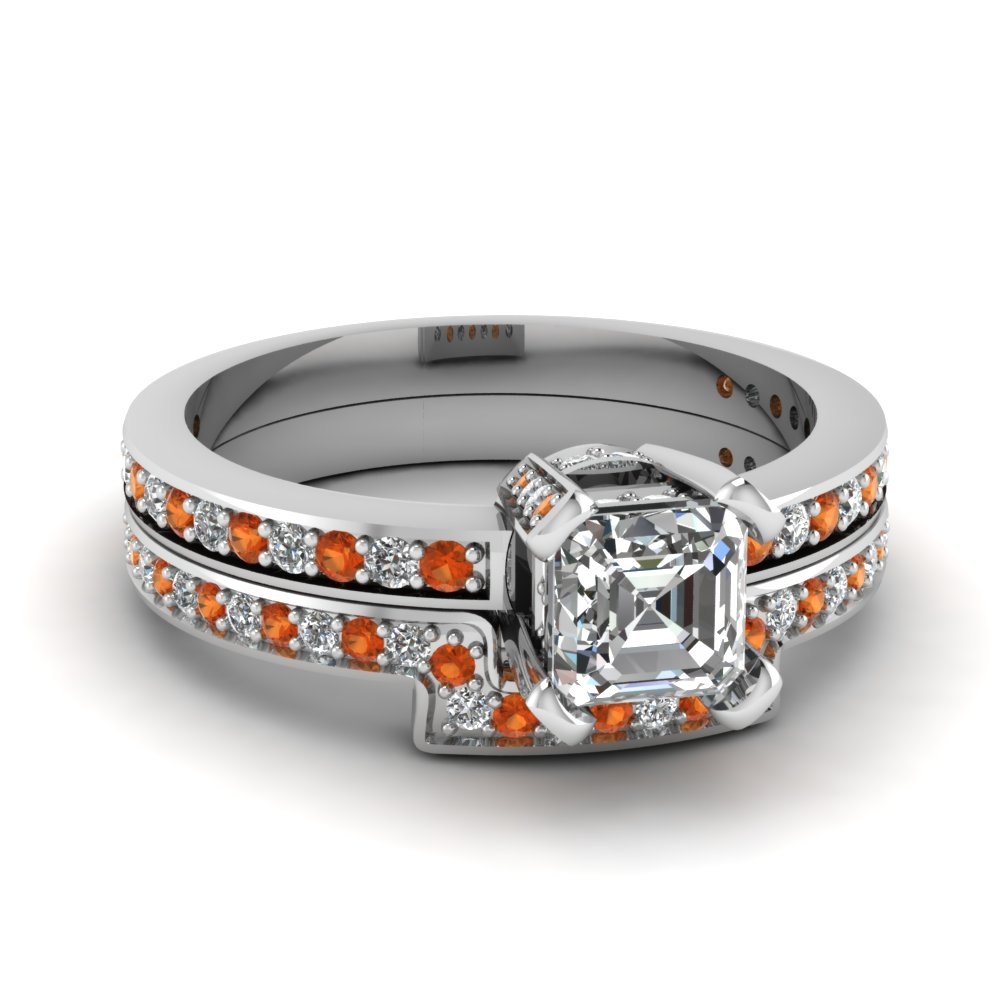 Asscher Cut Diamond Bridal Sets for Women