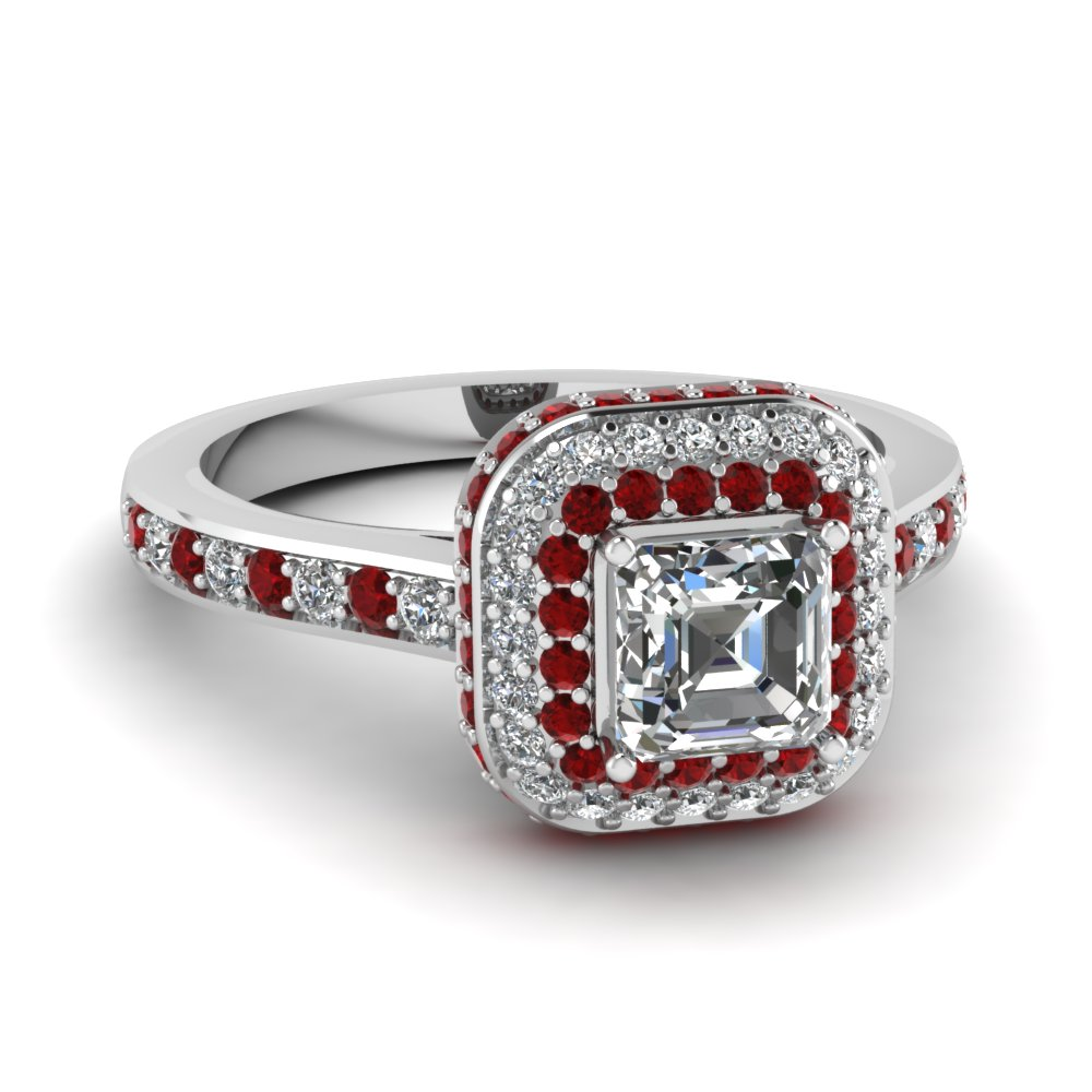 Asscher cut Halo Micropave set ruby and diamond engagement ring