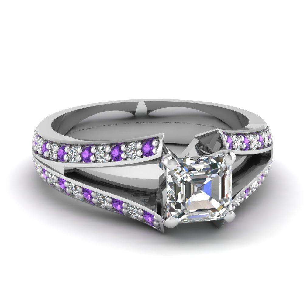 Split Asscher Diamond And Purple Topaz Gemstone Ring