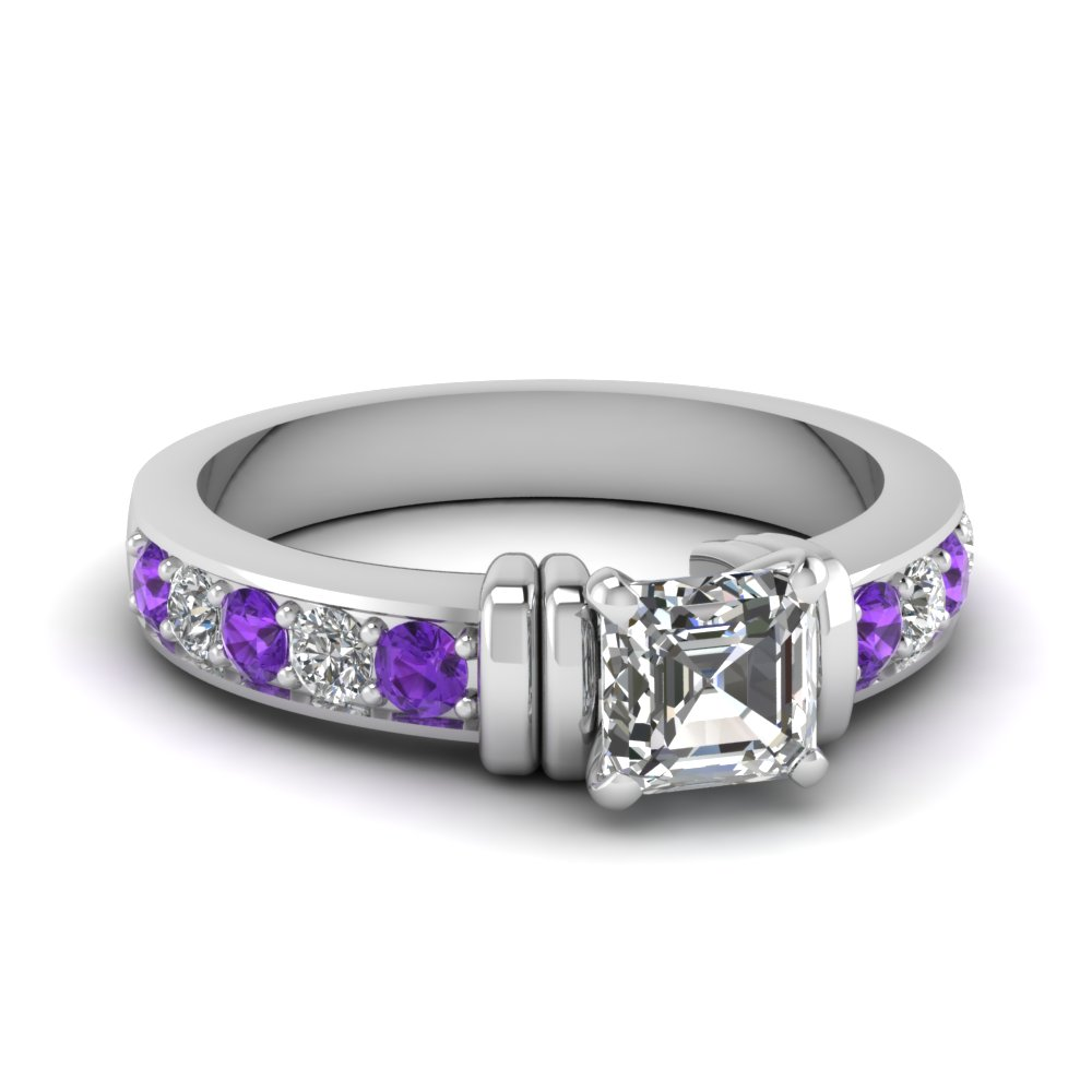 Purple and White Diamond Asscher Cut White Gold Engagement Ring