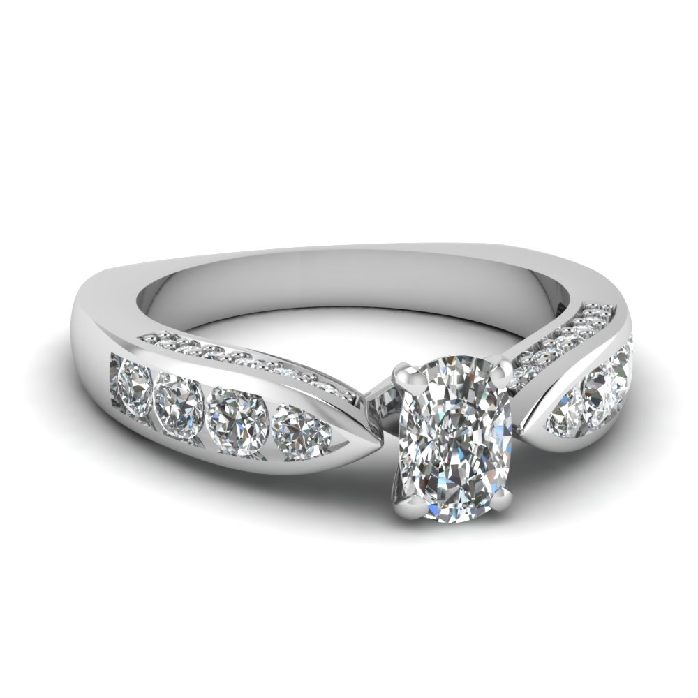 Cushion Cut Channel Set Engagement Ring