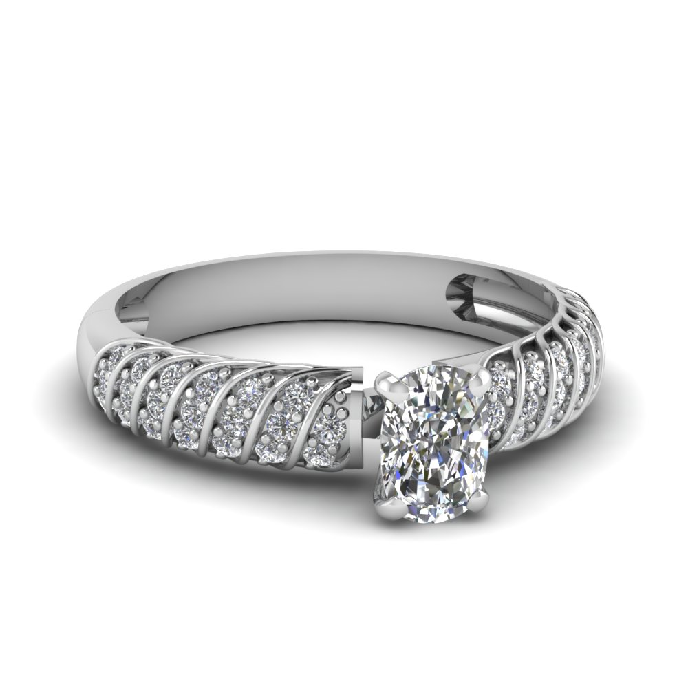 Cushion Cut Diamond Twist Rope Ring