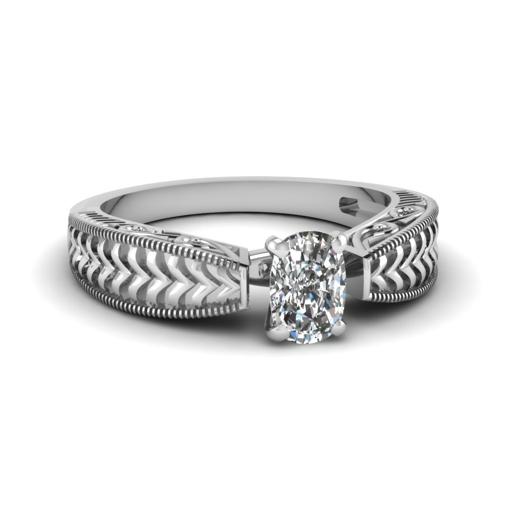 0.50 Carat Cushion Cut Diamond Engagement Ring