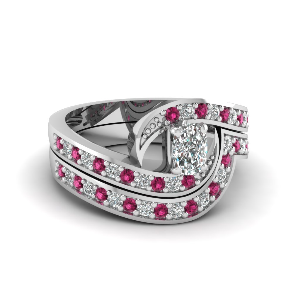 Swirl Pave Diamond Wedding Ring Sets
