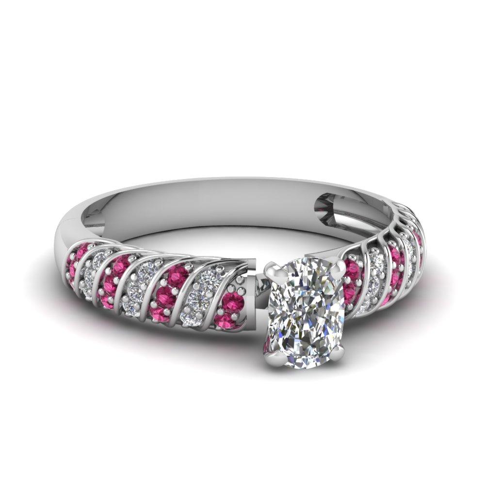 Twist Pave Set Pink Sapphire Ring
