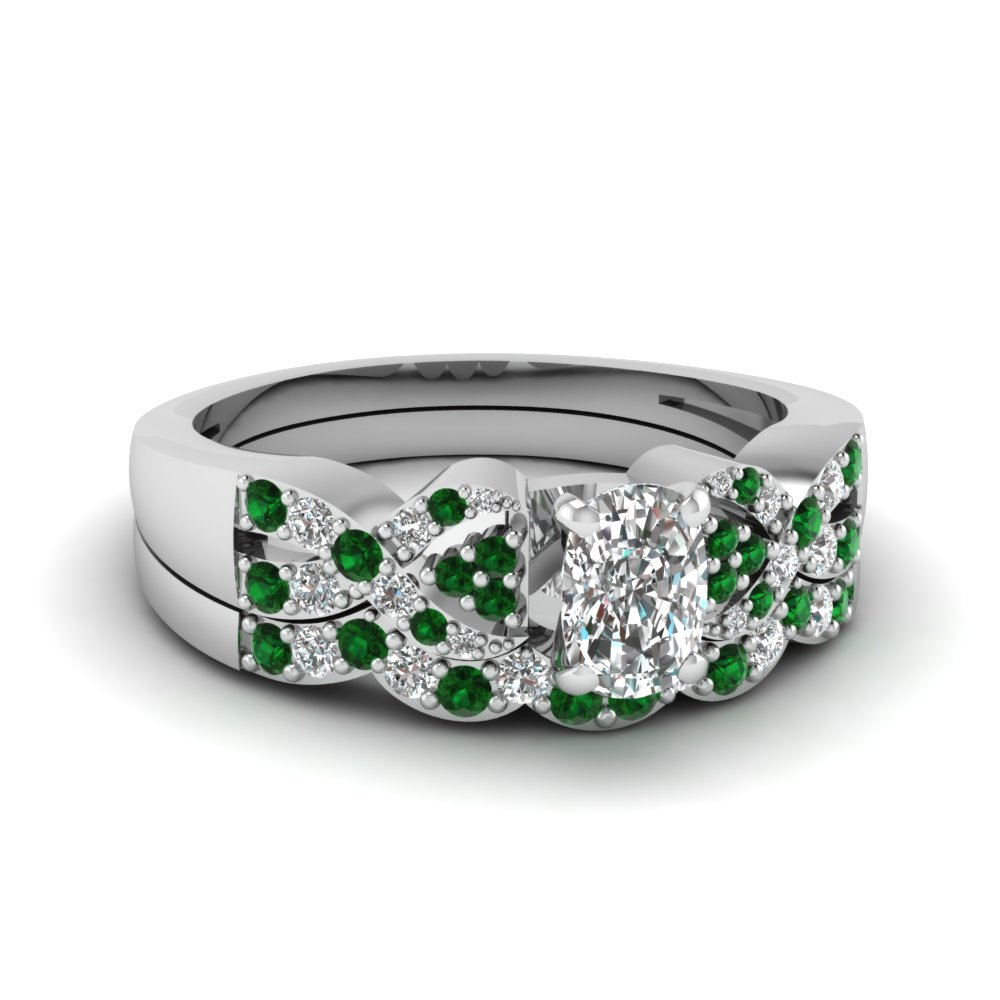 Emerald Accented Cushion Diamond Bridal Set