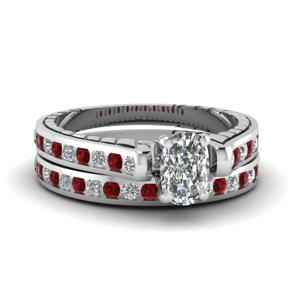 White Gold Ruby and Diamond Gorgeous Engagement Ring Sets