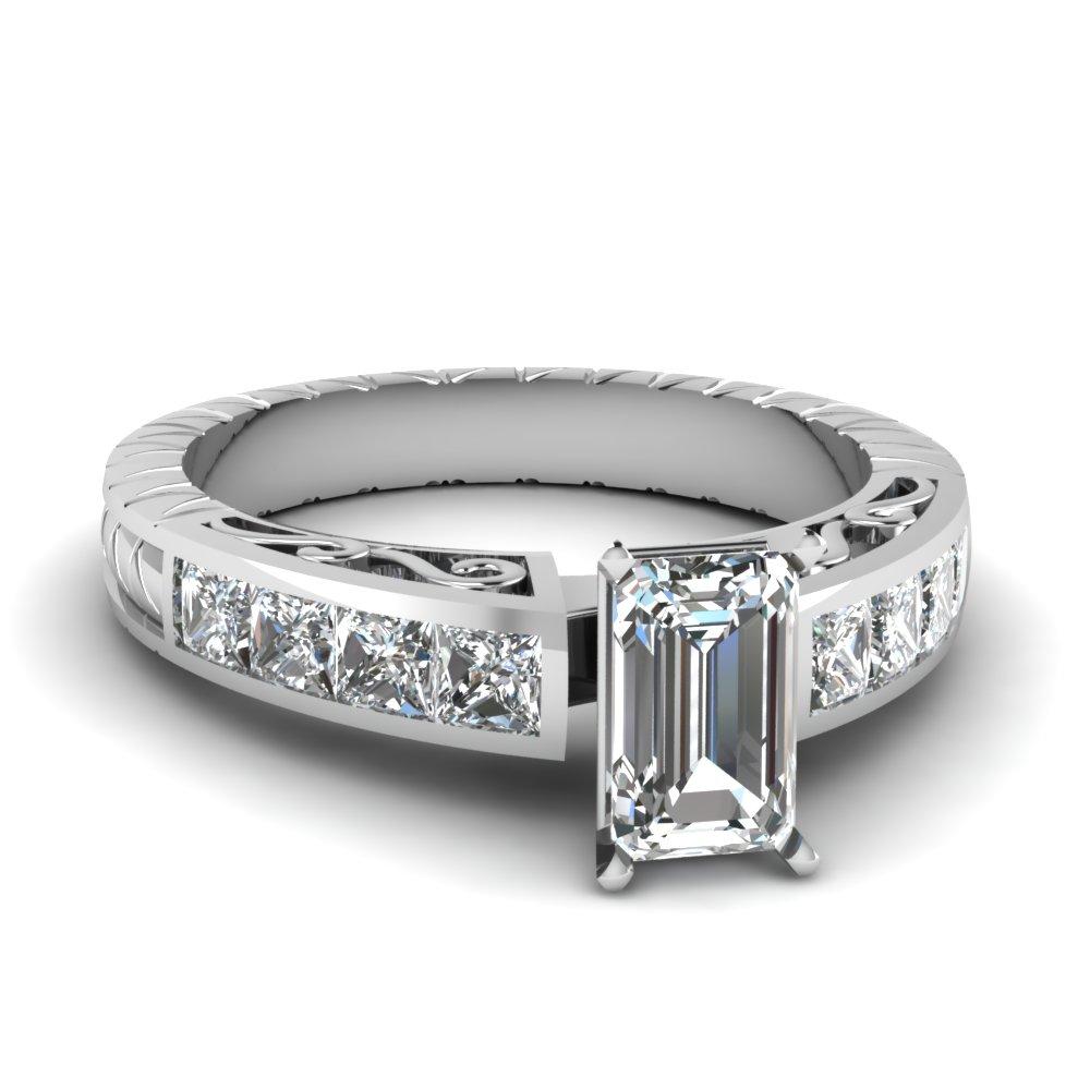 Engraved Emerald Cut Diamond Ring