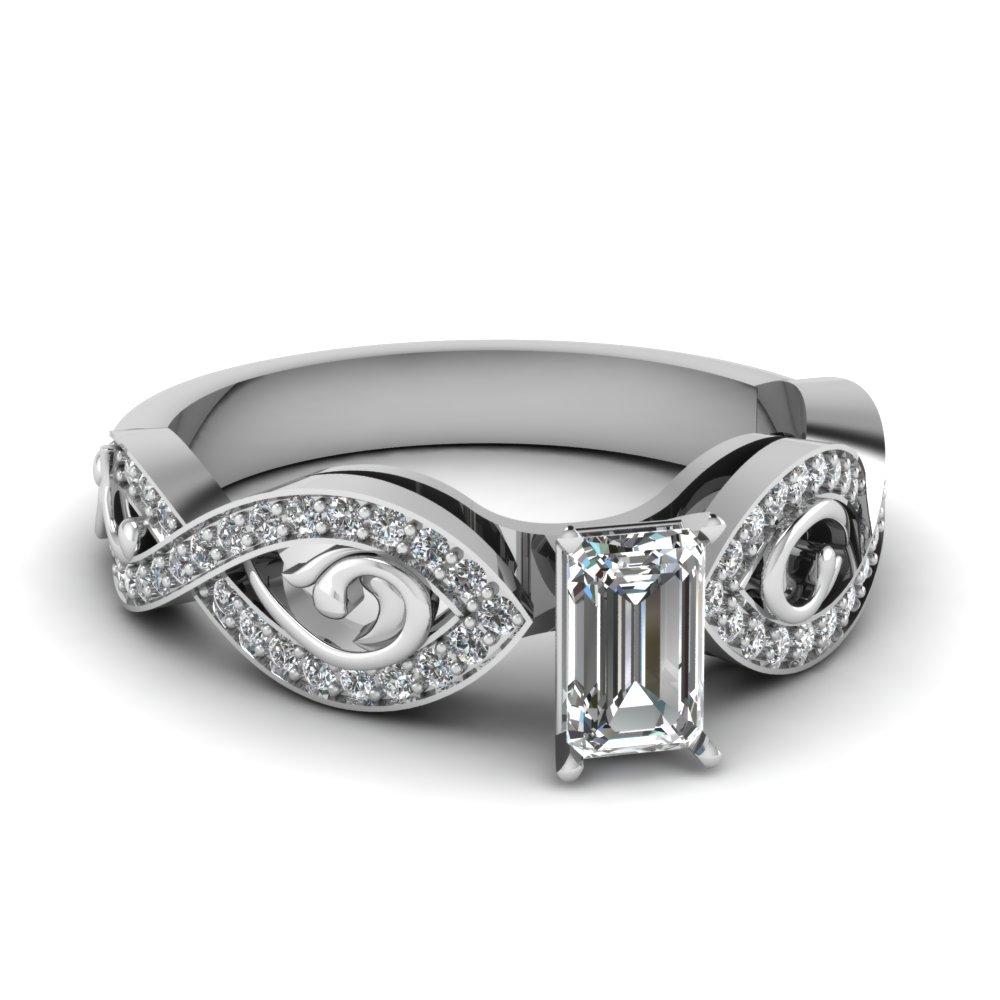 Pave Set Emerald Cut Diamond Ring
