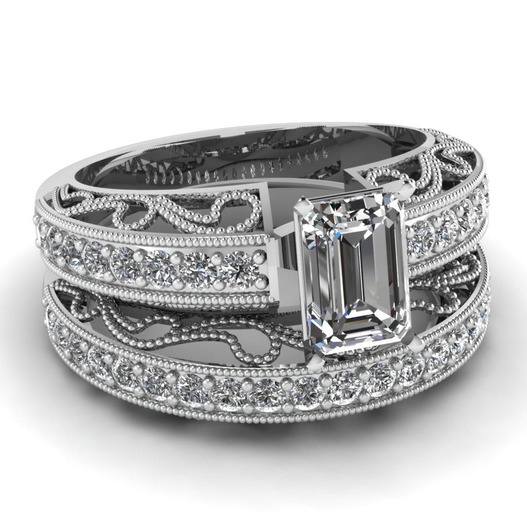 Emerald Cut Diamond Wedding Sets With White Diamond In 14k