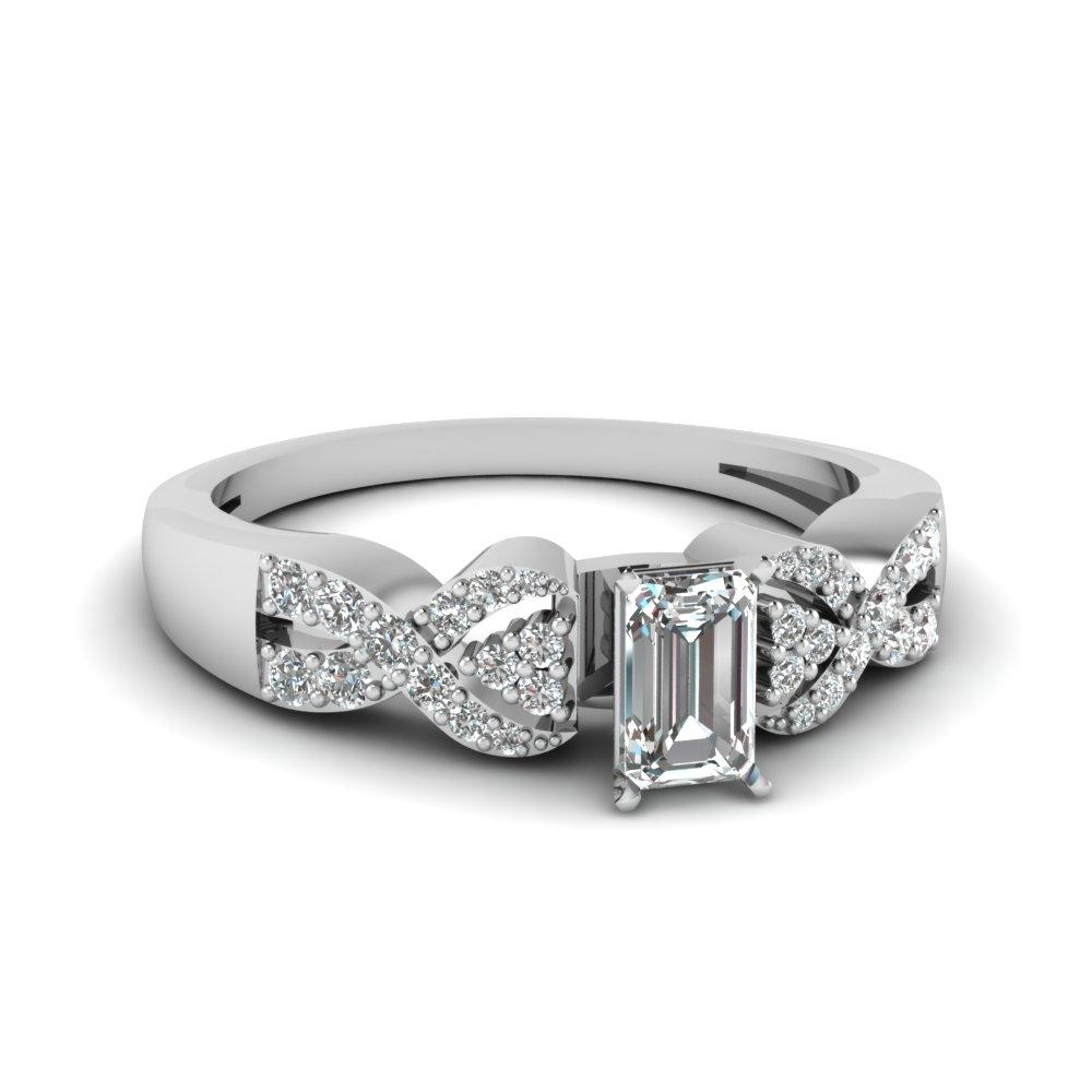 Side Stone Emerald Cut Diamond Engagement Ring
